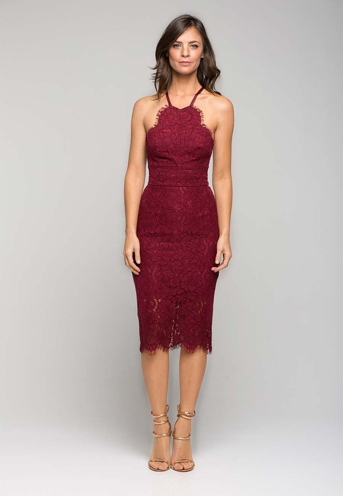 15371fb68bad Lover - Oasis Halter Dress Burgundy size 8 | The Volte