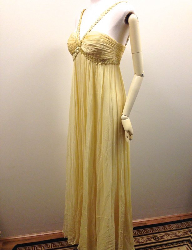 BCBGMaxazria Yellow Silk Long Evening Gown US size 6 Medium Aus Sz 10 Race Wear, Ball, Prom, Formal, Evening, Wedding