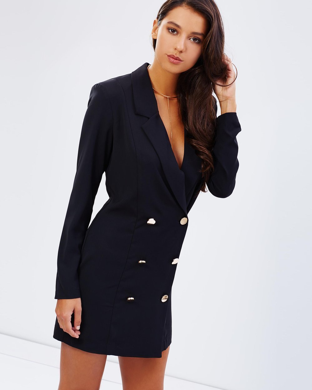 a3394b72e4f Pasduchas Size 10 Black Blazer Dress Gold Buttons