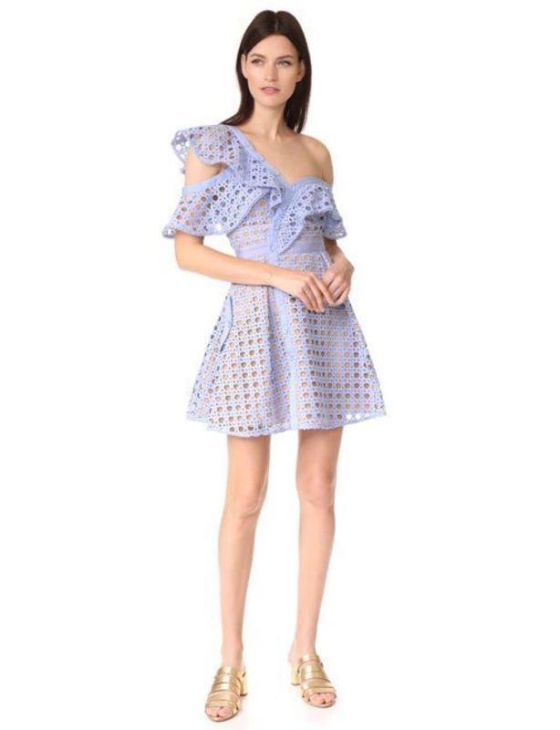 Self Portrait Blue Guipure Frill Mini Dress size 8