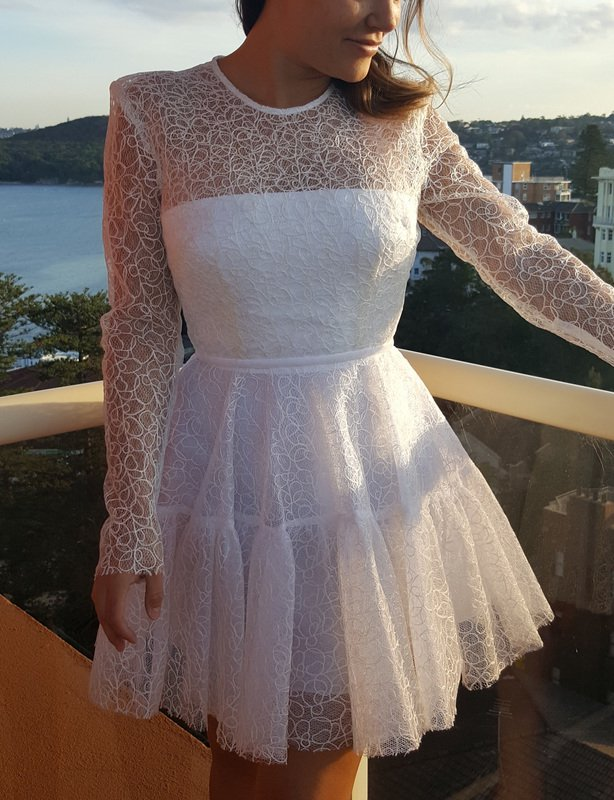 ALEX PERRY ANDERSON TULLE LACE CREW LONG SLEEVE MINI DRESS WHITE SIZE 8