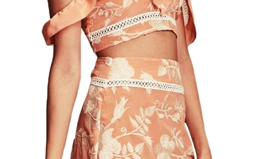 FOR LOVE AND LEMONS MIA SET IN PEACH size 12