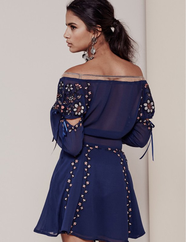 FOR LOVE AND LEMONS NICCOLA MINI DRESS NAVY BLUE  SIZE 10
