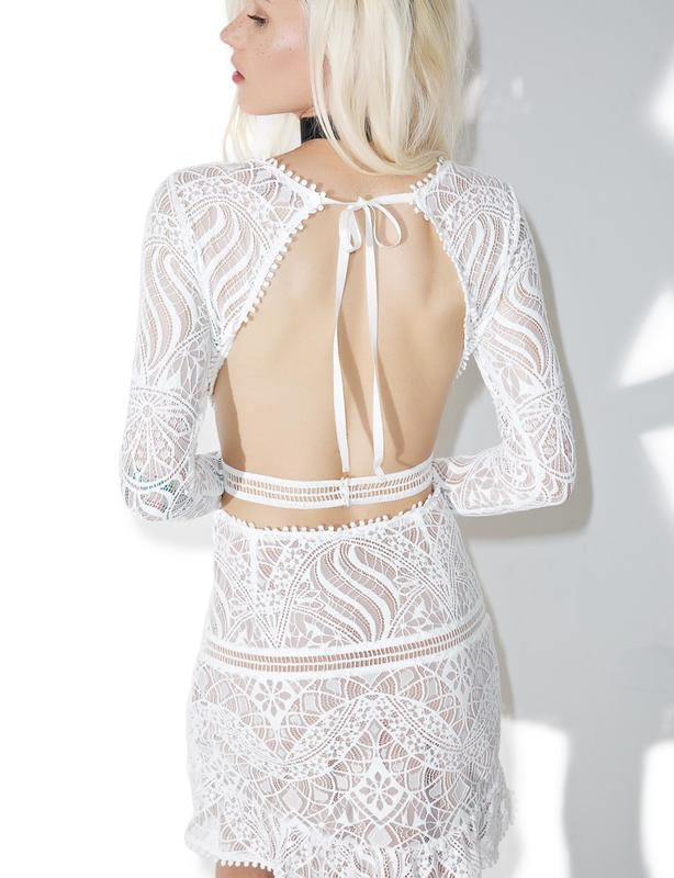 FOR LOVE AND LEMONS EMERIE CUT OUT DRESS IN WHITE SIZE 12