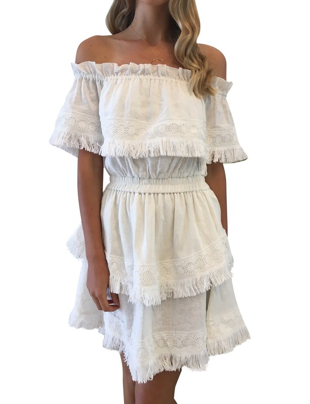STEELE AVERY OFF THE SHOULDER DRESS IN NATURAL WHITE IVORY SIZE 8