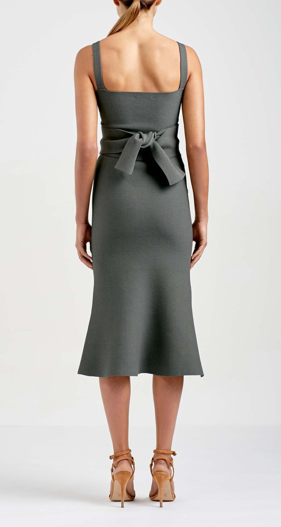a6d1194fb1ece ... Scanlan Theodore - Crepe Knit Bralette Dress Grey Size 6 ...