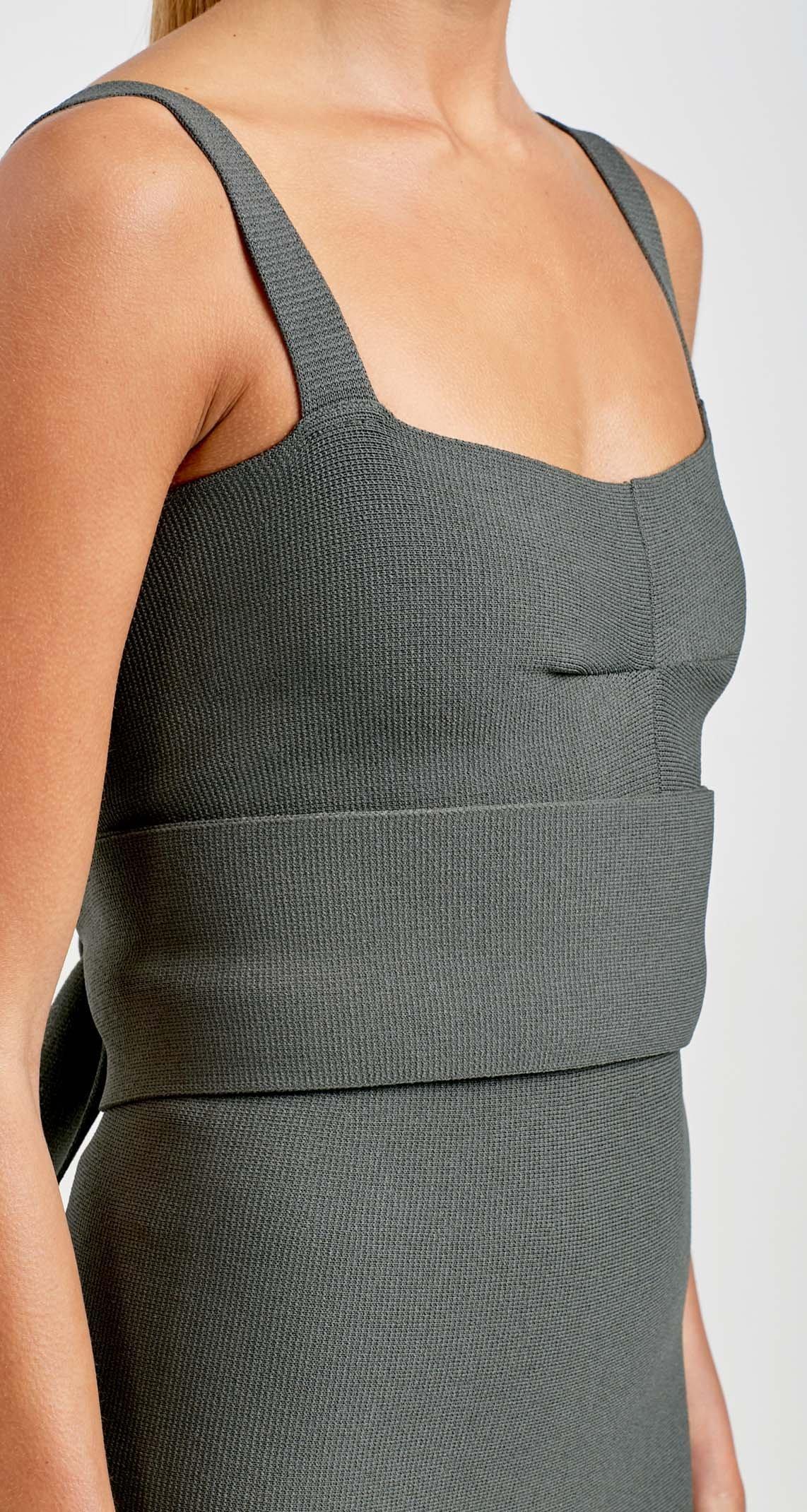 a5e2f72fe0f5a ... Scanlan Theodore - Crepe Knit Bralette Dress Grey Size 6