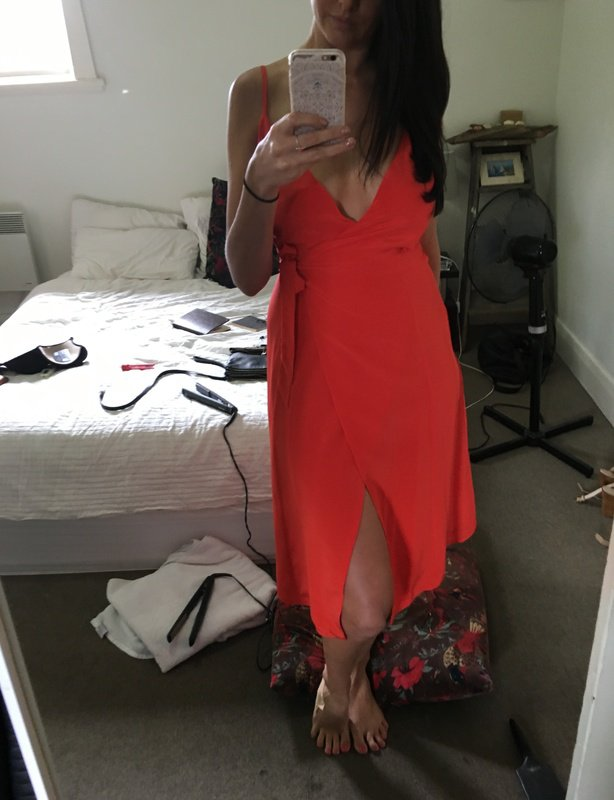 Kookai Wrap Dress - Blood Orange