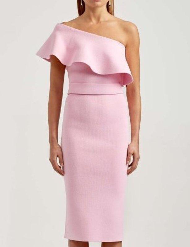 Scanlan Theodore Pink Crepe Knit Ruffle Dress size 10
