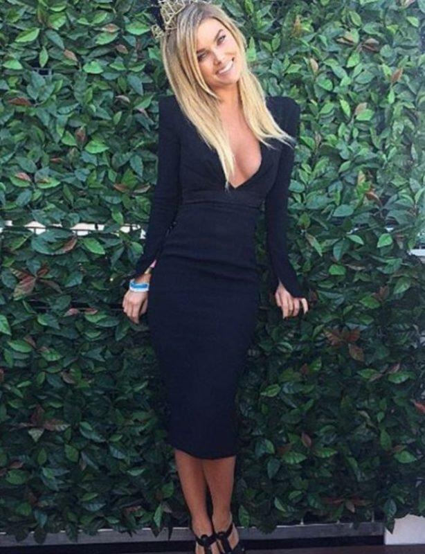ALEX PERRY  Black Nadine V Pencil Dress size 6