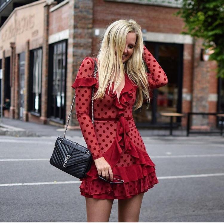 30593683750f1 FOR LOVE AND LEMONS DOTTY MINI DRESS IN BERRYDOT RED size 12 | The Volte