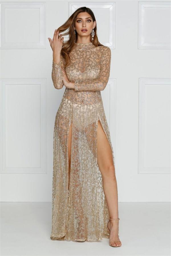 4b201ea8a93 ... Alamour the Label Moet Shimmering Gold Gown ...