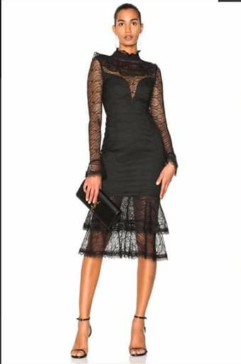 Nicholas Black Sheer Lace Long Sleeve Dress The Volte