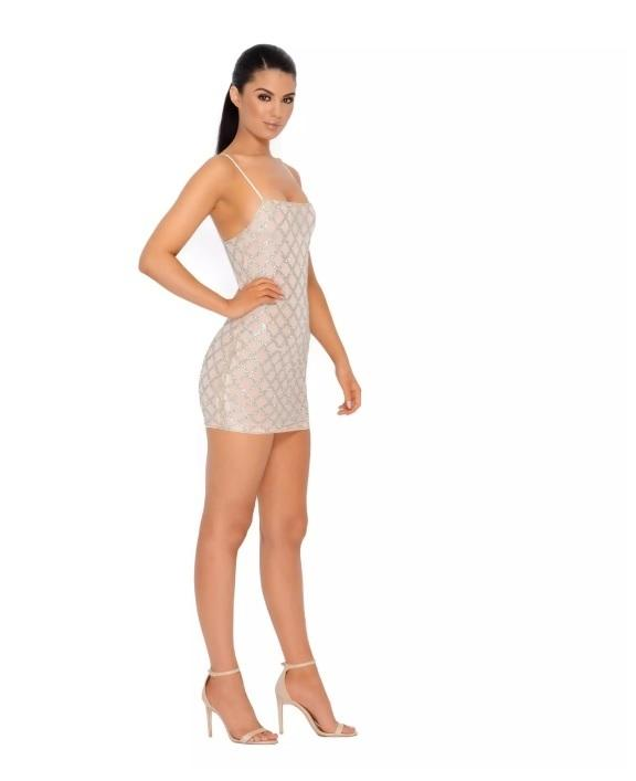 2376765d ... Oh Polly SHIMMER AND SHAKE EMBELLISHED LATTICE MINI DRESS IN NUDE