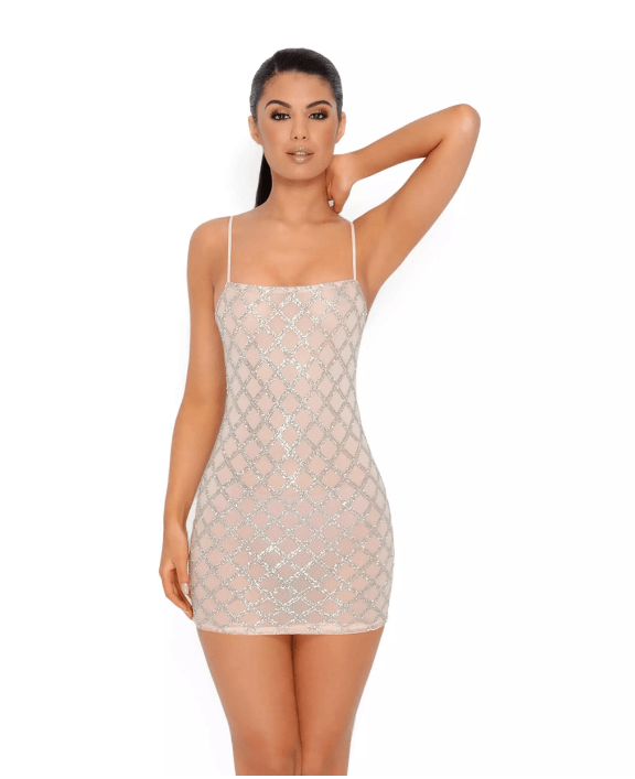5d019a31de9 Oh Polly SHIMMER AND SHAKE EMBELLISHED LATTICE MINI DRESS IN NUDE ...